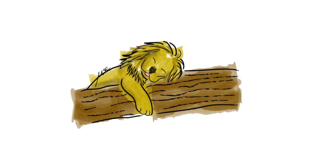 sleeping-lion-watercolor-drawing-digital-art-cinmu-illustration