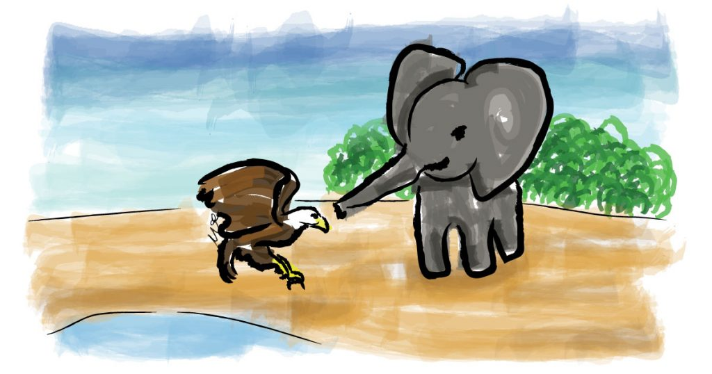 elephant-gajah-eagle-rajawali-digital-illustration-watercolor-drawing