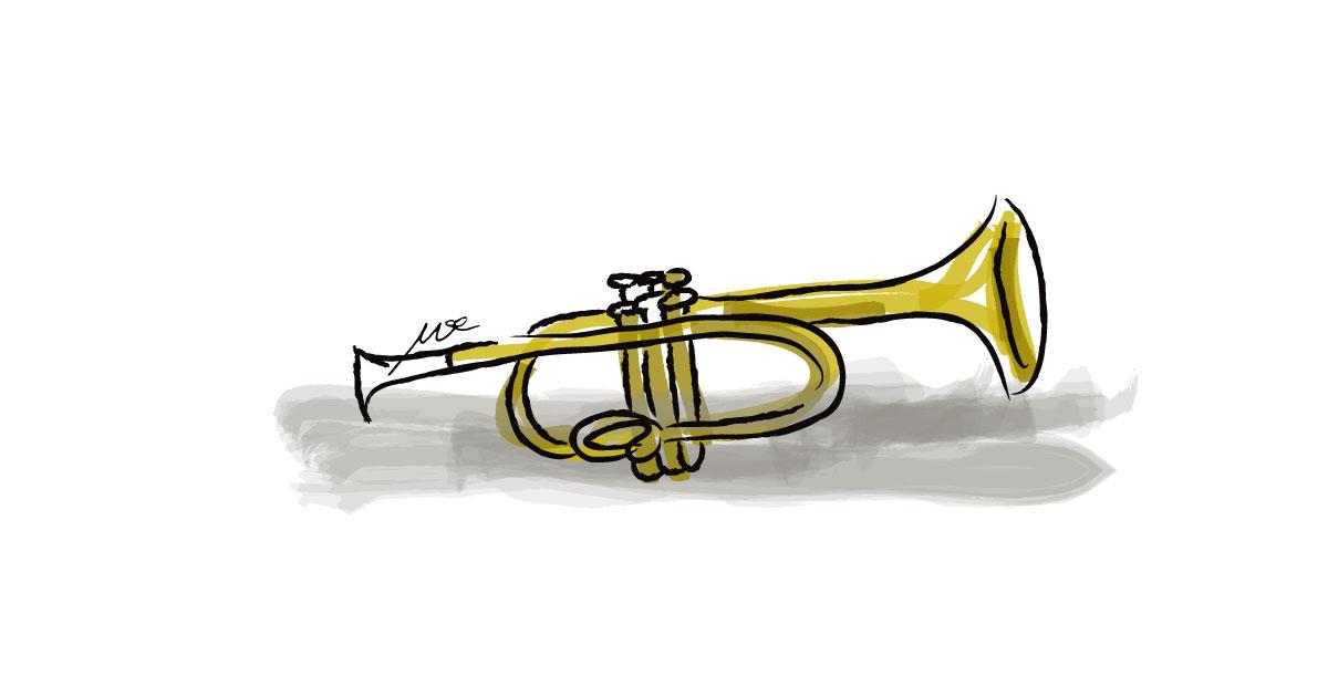 trumpet-watercolor-digital
