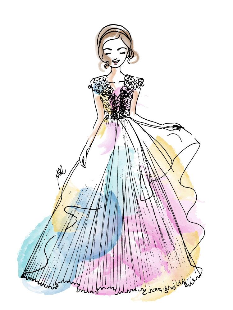 personalised fashion illustration a woman in wedding dress illustration