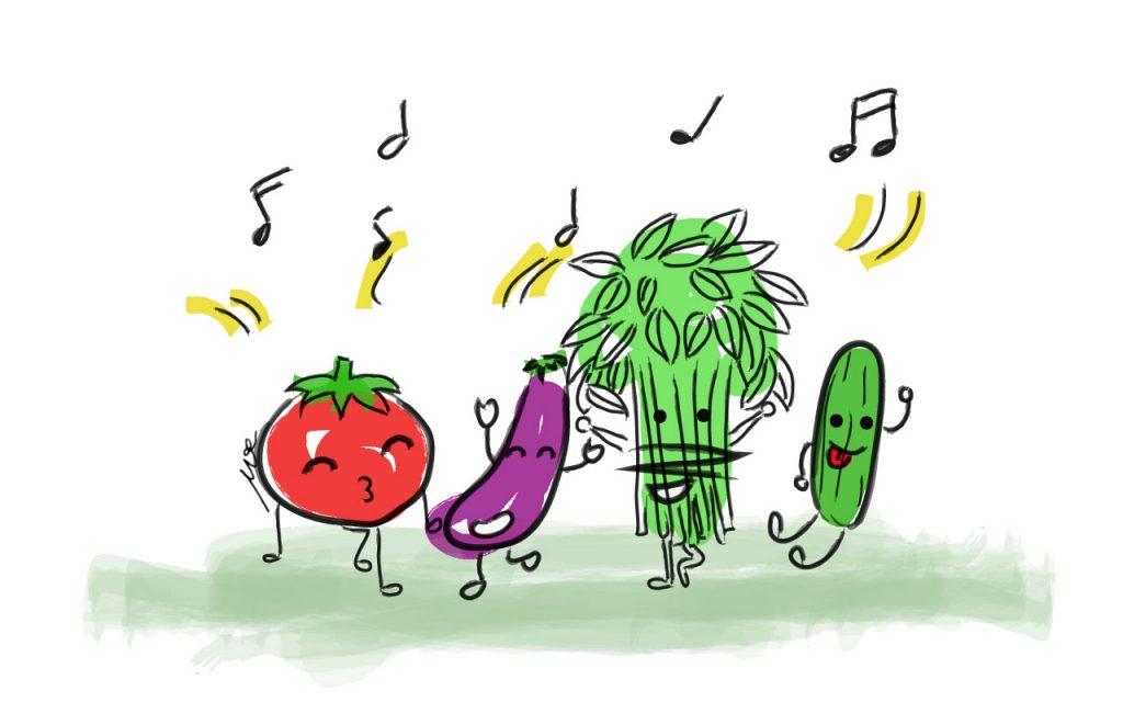 sayur-menari-dancing-vegetable-watercolour-drawing