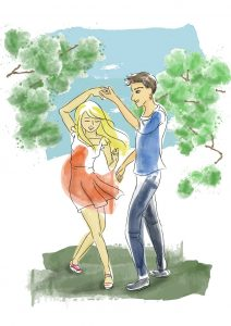 Watercolour digital illustrations of dancing couple
