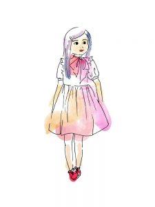 little girl illustration digital watercolour