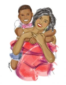 drawing of son hugging her mother