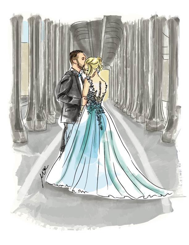 wedding illustration in digital watercolour style