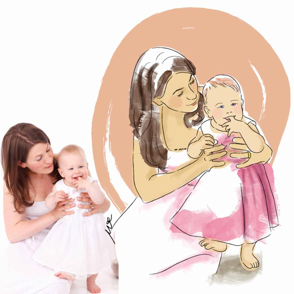 custom illustration mother daughter
