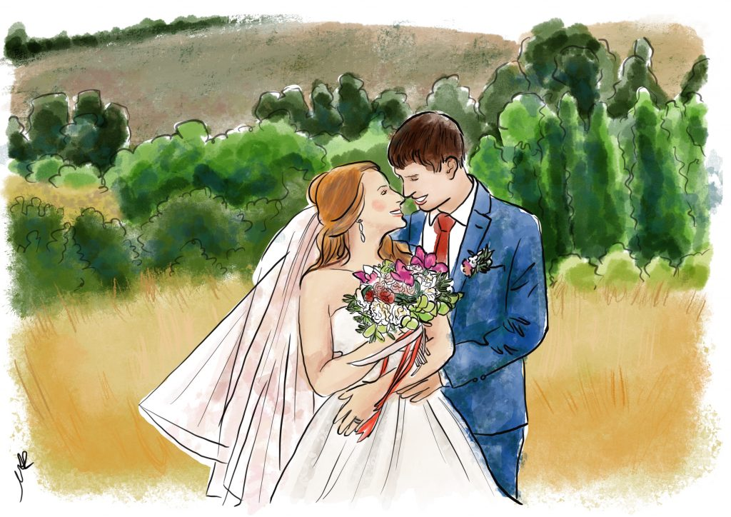 Watercolour wedding illustration