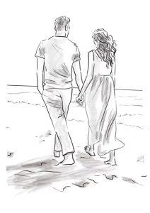 line art couple walking drawing
