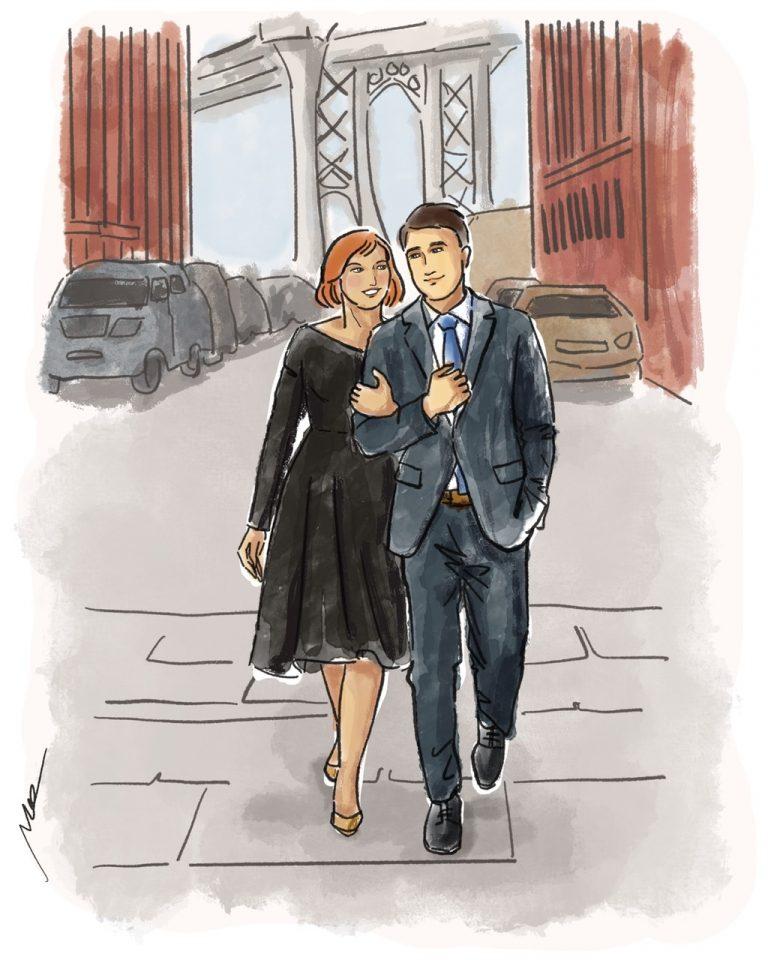 Couple walking street illustration